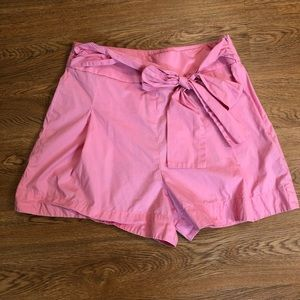 J. Crew high waisted pink shorts with a bow